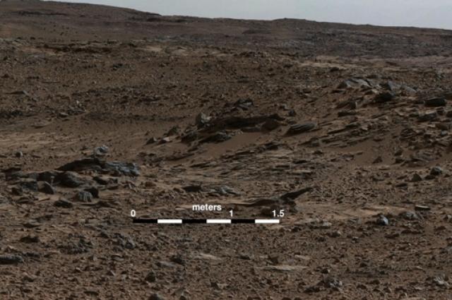 Изображение кратера Гейла с камеры Curiosity.
