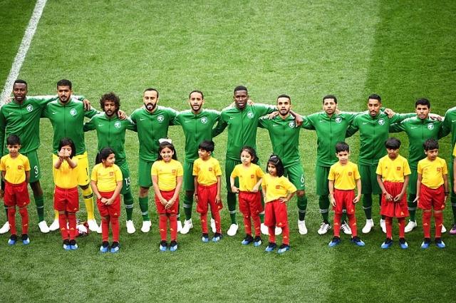 Сборная Саудовской Аравии перед матчем с Россией.