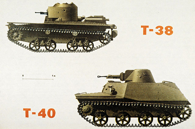 Плавающие танки Т-38 иТ-40. Репродукция изкниги «Оружие Победы 1941-1945гг.».