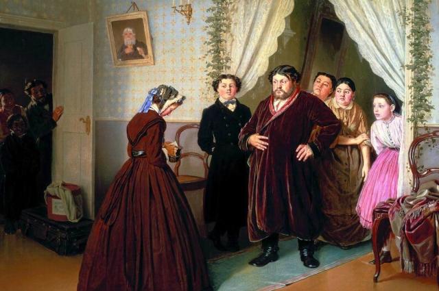 Приезд гувернантки в купеческий дом (1866 г.) Худ. Василий Перов