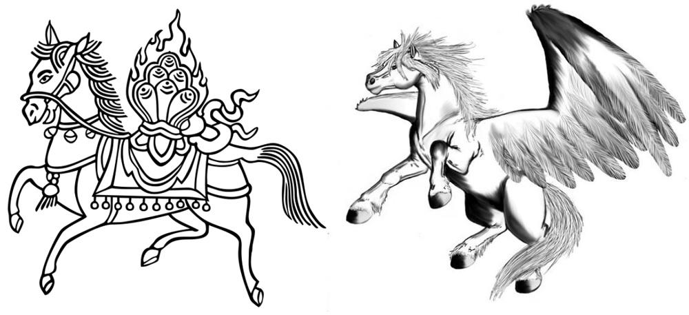 Летучие кони - тибетский Лунг-Ла (на левом рисунке) и башкирский Акбузат.