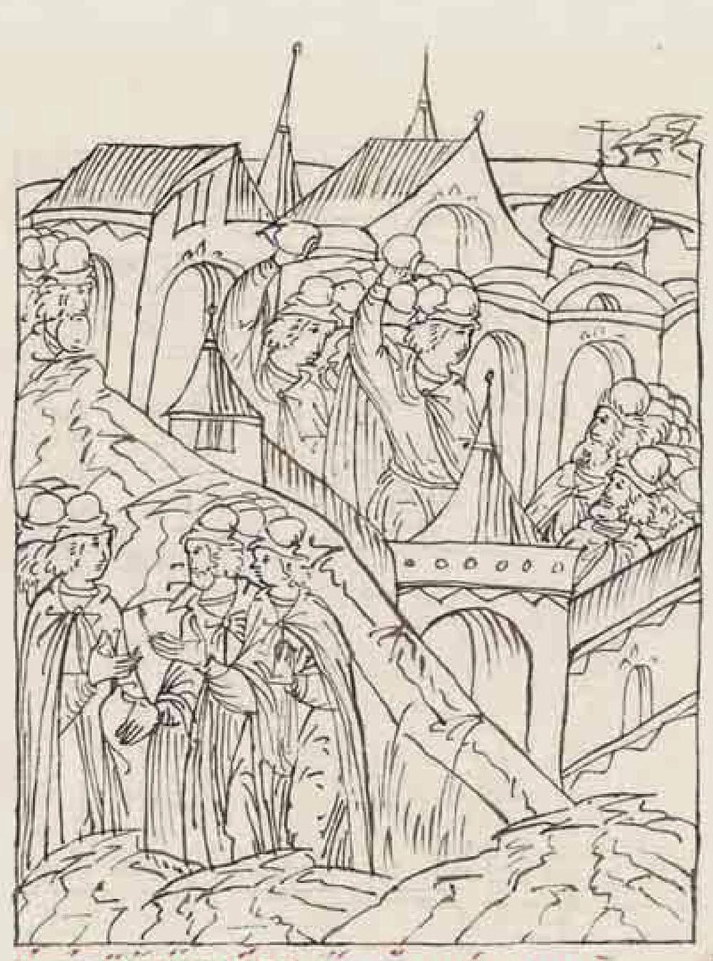 «Восстание в Москве в 1547 году». Миниатюра из Лицевого летописного свода. 16 век. На заднем фоне миниатюры видны пожары домов в городе.