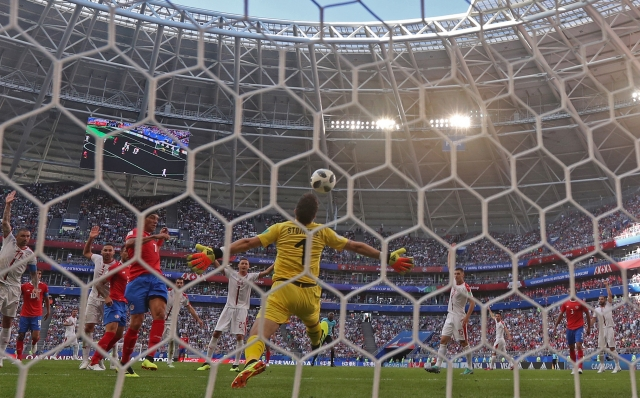 Вратарь сборной Сербии отбивает мяч.