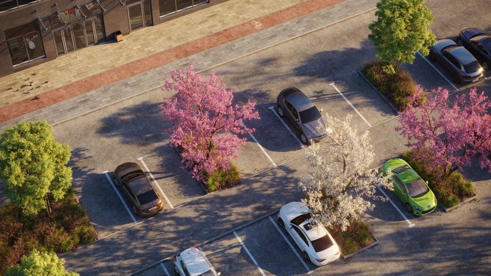 Для удобства автовладельцев по периметру района будет построена открытая парковка европейского типа и многоуровневый наземный паркинг.