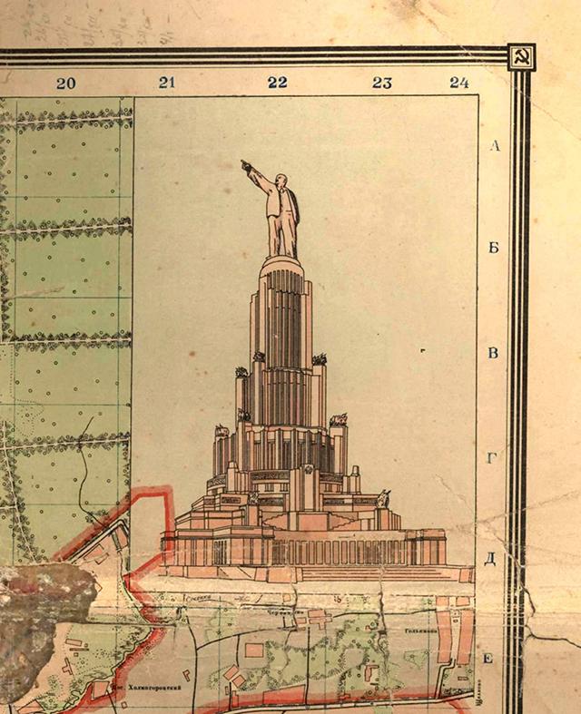 Изображение Дворца Советов на Плане города Москвы, составленного и изданного в 1940 году Геодезической конторой Управления планировки г. Москвы