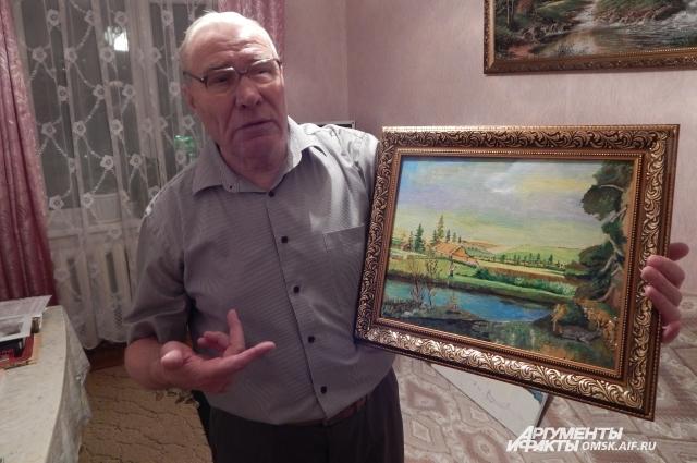 Иван Иванович пишет картины.