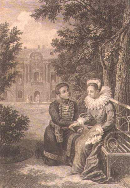 Лжедмитрий I и Марина Мнишек. Гравюра Г. Ф. Галактионова (начало XIX века)