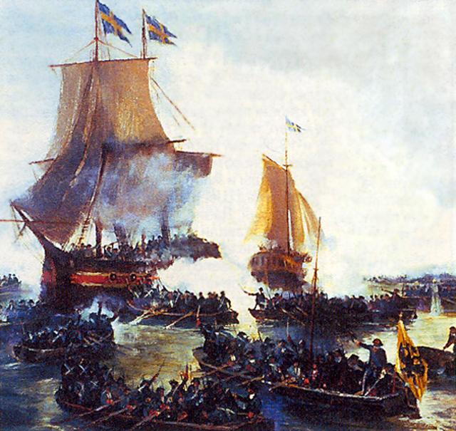 Взятие Петром Первым шведских кораблей «Гедан» и «Астрильд» в устье Невы. Валентин Печатин. 1920 год.