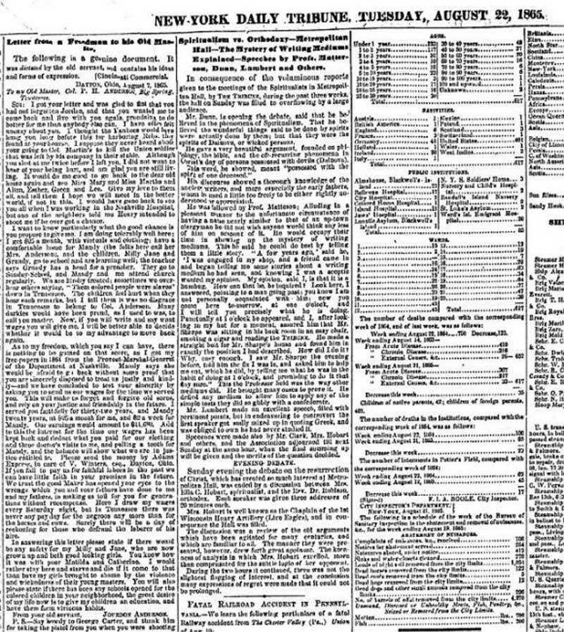 Выпуск газеты New York Daily Tribune от 22 авг. 1865 г. Письмо Джордона - в левой колонке