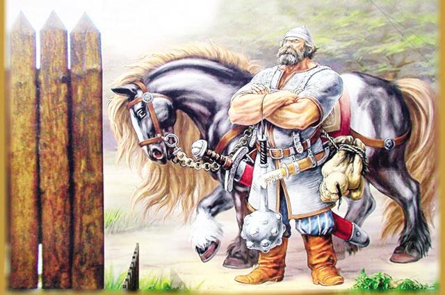 Своего богатырского коня, оружие и доспехи богатырь нашел под указательным камнем.