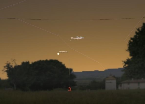 Венера и Меркурий на вечернем небе 18 марта в 20:00
