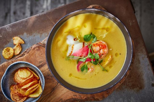 Крем-суп из топинамбура с морепродуктами