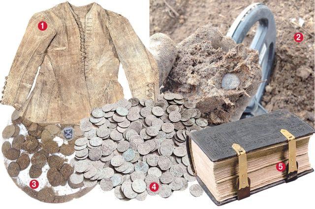 1) Кафтан юнги, поднятый с затонувшего судна «Архангел Рафаил»; 2,3) около 250 монет-чешуек эпохи Ивана Грозного, Шуйского и Лжедмитрия обнаружены в Новоладожском районе ЛО; 4) 230 монет Швеции, 1630-1650 гг., 1/4 эре, обнаружены в Кингиссепском районе; 5) псалтырь XVIII в. после реставрации, найден на судне «Архангел Рафаил».