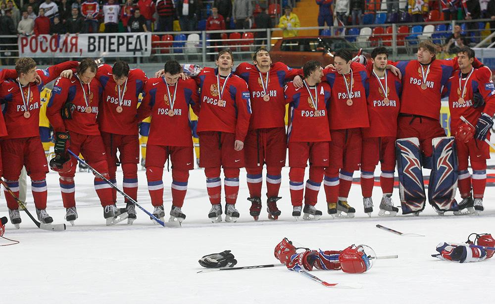 Чемпионат мира по хоккею-2007. Сборная России после матча со шведами.