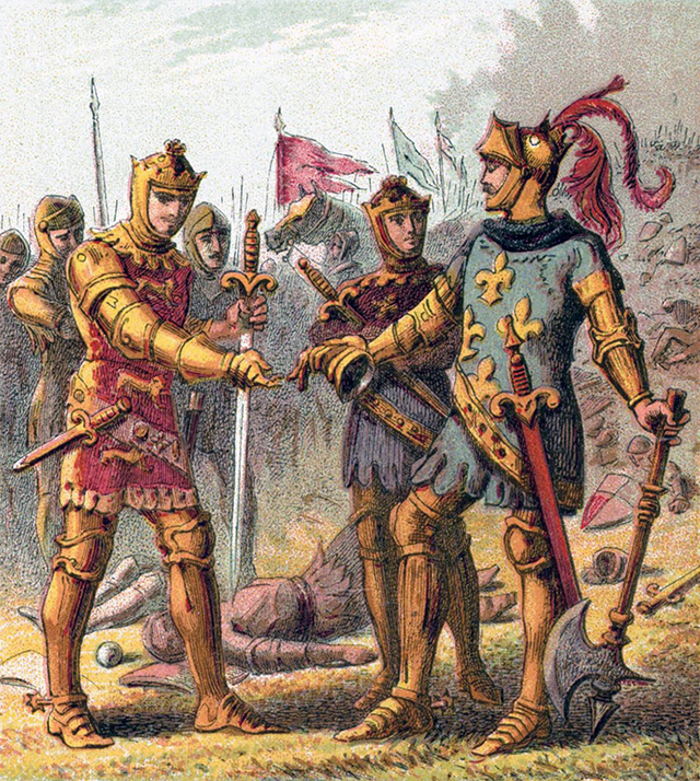 Эдуард «Чёрный принц»  и пленённый король Франции Иоанн II Добрый.