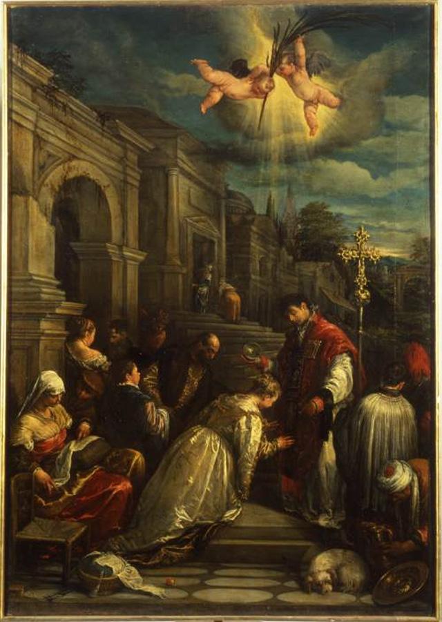 Св. Валентин Римский крестит св. Луциллу (около 1575 г.)