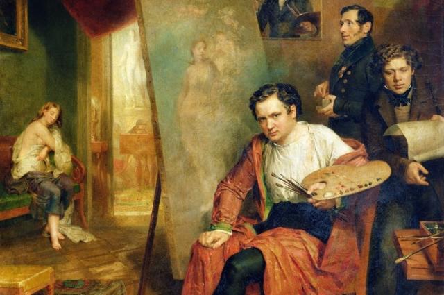 олике в своей студии, 1832 год.