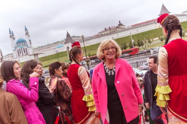 Ольга Остроумова была в национальном татарском серебряном ожерелье.