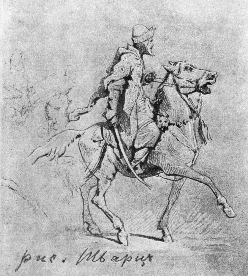 «Опричник» – рисунок художника Вячеслава Григорьевича Шварца (1838-1869).
