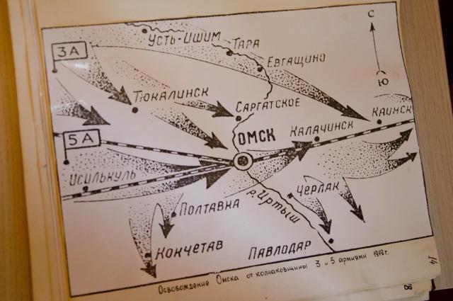 Схема продвижения частей Красной армии. Омск был взят войсковыми подразделениями 3-й и 5-й армии.