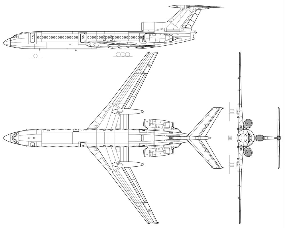 Ту-154 в трёх проекциях.