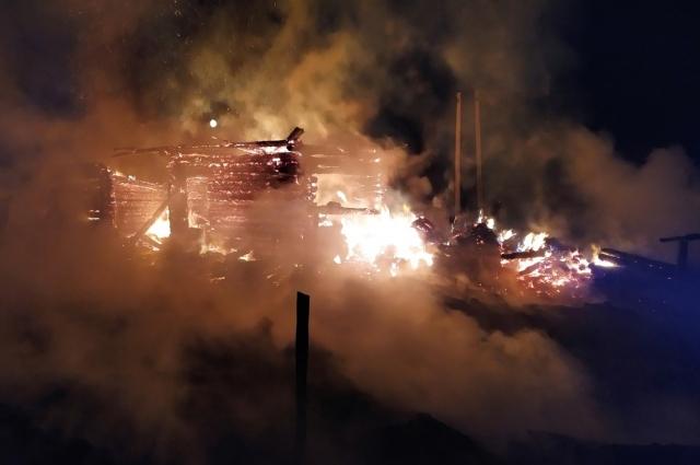 Огнём были уничтожены надворные постройки и дом.