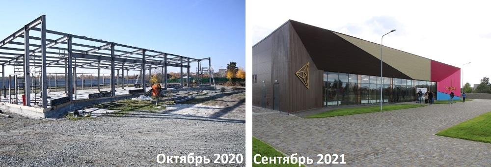 Новый корпус лыжной базы выполнен в современном стиле и с применением современных технологий/