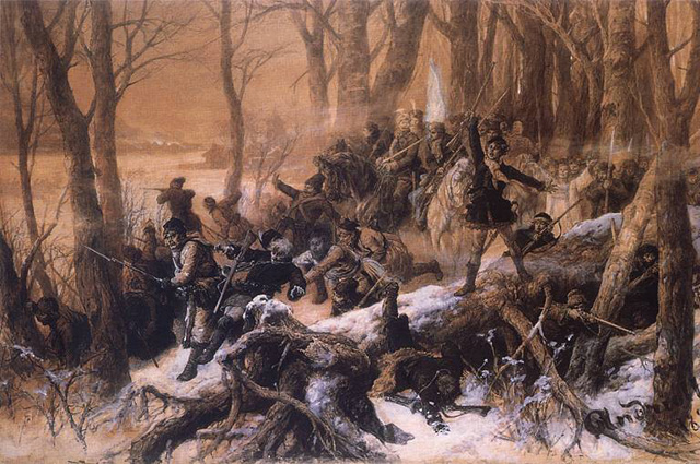 Картина М. Э. Андриолли Атака повстанцев (1895)