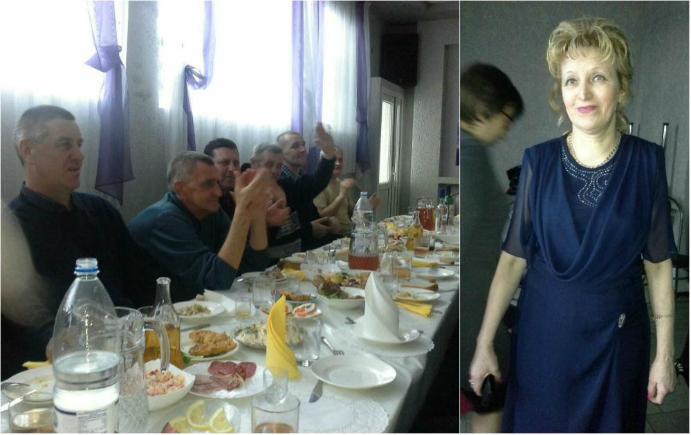 В левой части коллажа: Олег - ещё живой - аплодирует друзьям-однополчанам. В правой части: хозяйка столовой, вдова воина-интернационалиста Ольга Ананьева.