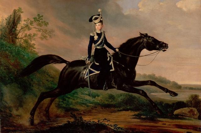 Будущий император на конной прогулке.