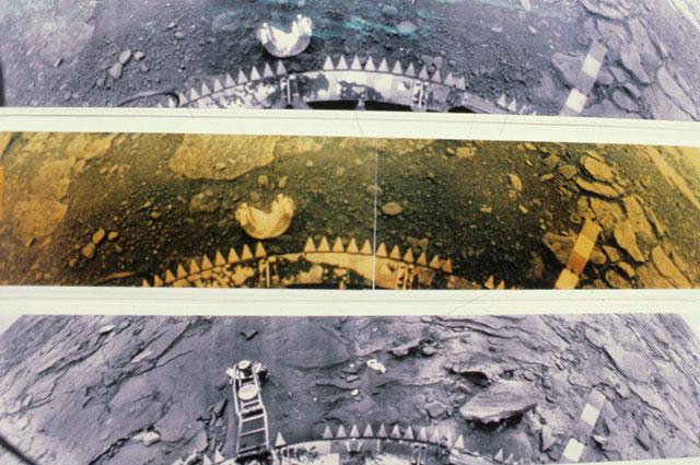 Автоматическая межпланетная станция «Венера-14» в марте 1982 г. опустилась на поверхность планеты и сдела- ла панорамные снимки, проработав 57 минут в условиях экстремальной температуры 467◦С.