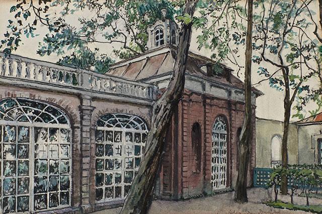 Александр Бенуа, «Вид на Монплезир, Петергоф» (The Palace Of Monplaisir At Peterhof).