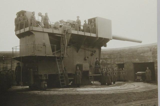 Личный состав орудия 305 мм. Фото 1914 года.