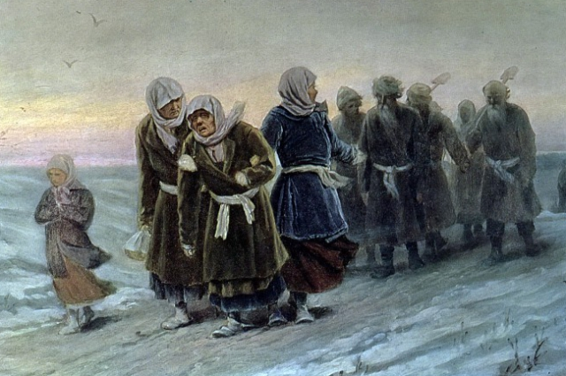 Василий Григорьевич Перов. Возвращение крестьян с похорон зимою. Начало 1880-х.
