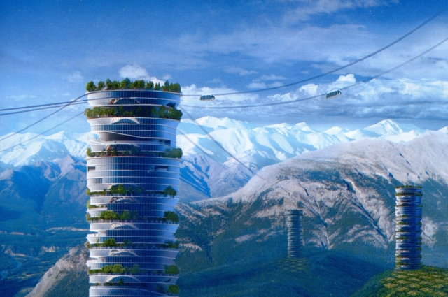 Соединять между собой высотные здания будут горизонтальные лифты SkyWay, которые позволят перемещаться между ними за считанные минуты.