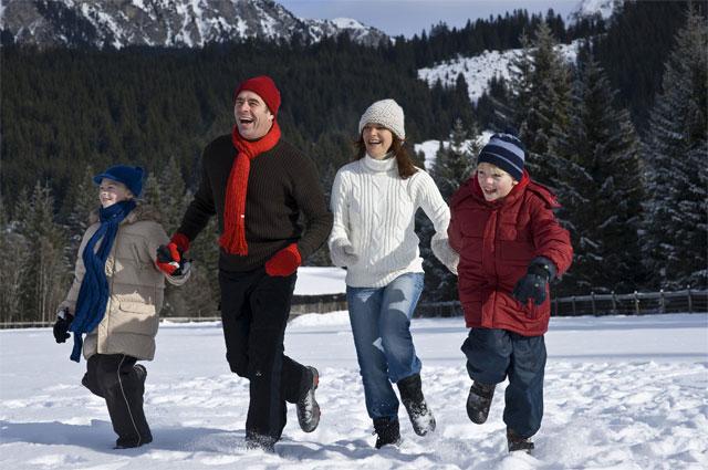 Семья зимой