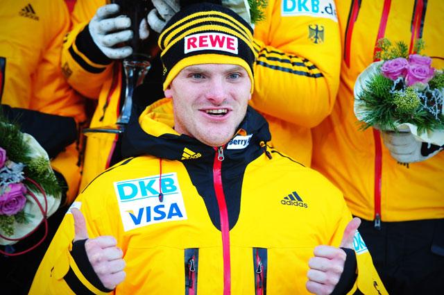 Максимилиан Арндт после победы на этапе Кубка мира в Винтерберге, 2014 год