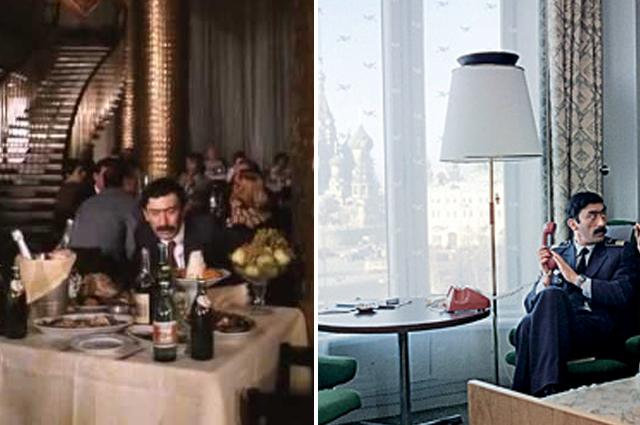 В «Мимино» можно разглядеть не только фасады «России», но и фойе, рестораны, лифты, коридоры, комнаты.
