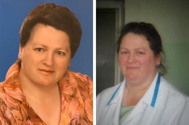 Слева - фотография для доски памяти в МСЧ №4; справа - Екатерина Александровна во время работы.