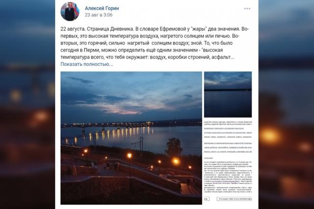 Один из постов Алексея Горина