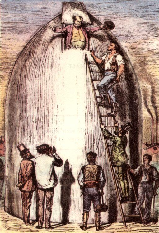 Подготовка «Вагон-снаряда». Иллюстрация к изданию 1872 года.