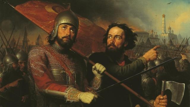 М.И. Скотти «Минин и Пожарский», (1850), холст, масло — Нижегородский государственный художественный музей.