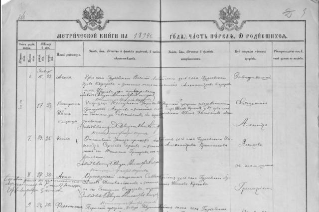 Метрическая книга церкви села Гурьевского 1894 г.