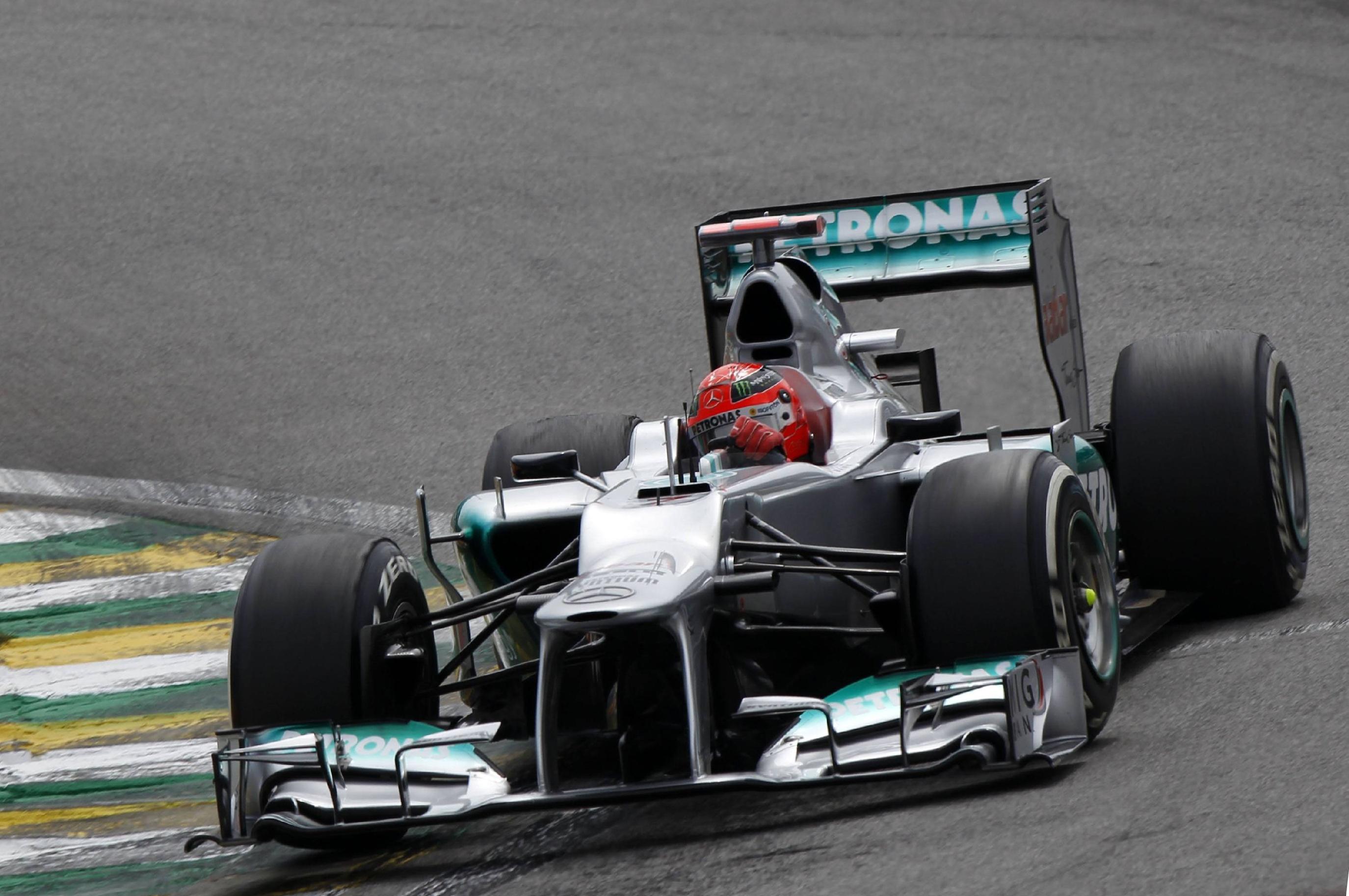 Михаэль Шумахер в составе Mercedes на Гран-при Бразилии 2012 года, своей последней гонке в Формуле-1