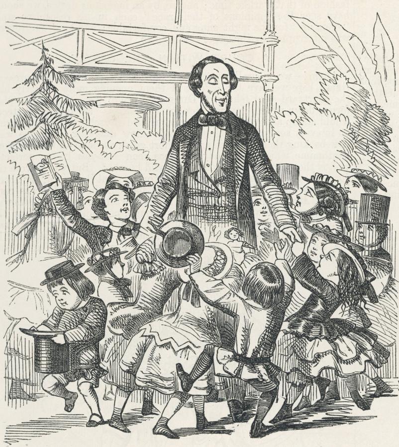 Андерсен в окружении детей-читателей. Карикатура 1857 г
