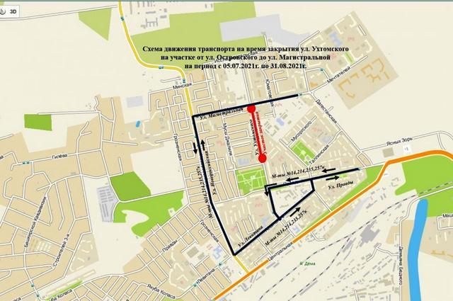 схема объезда закрытого участка общественным транспортом