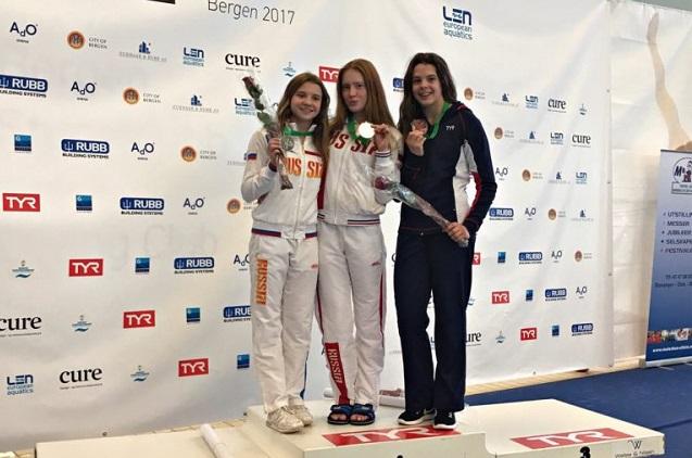 Победительница первенства Европы Александра Бибикина (в центре).