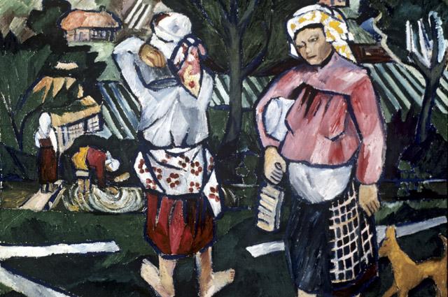 Репродукция картины «Мытье холста» художника Наталии Сергеевны Гончаровой.1910год.