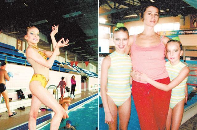 В бассейне «Радуга». Мария (справа) с первым тренером.