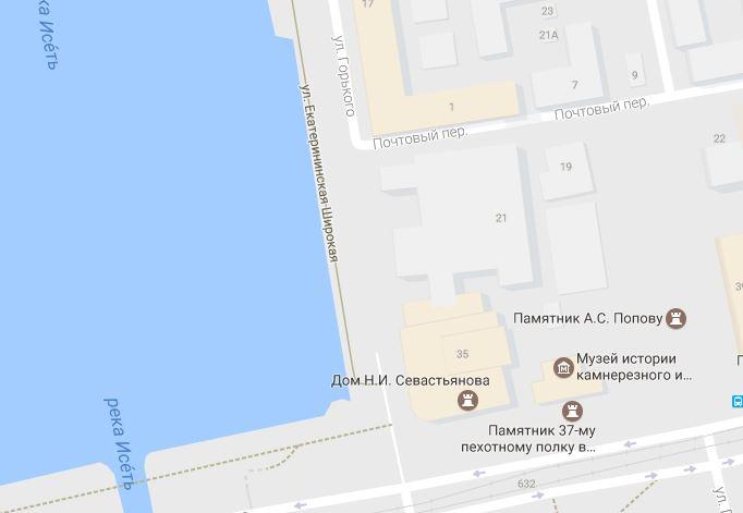 скрин карты Google Екатеринбург